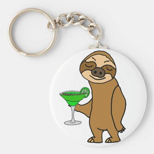 Cool Funky Sloth Drinking Margarita Cartoon Key Ring