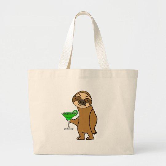 Cool Funky Sloth Drinking Margarita Cartoon Large Tote Bag