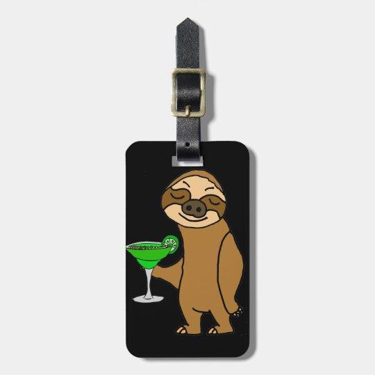 Cool Funky Sloth Drinking Margarita Cartoon Luggage Tag