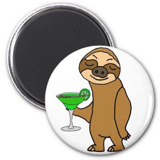 Cool Funky Sloth Drinking Margarita Cartoon Magnet