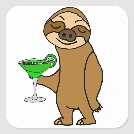 Cool Funky Sloth Drinking Margarita Cartoon Square Sticker