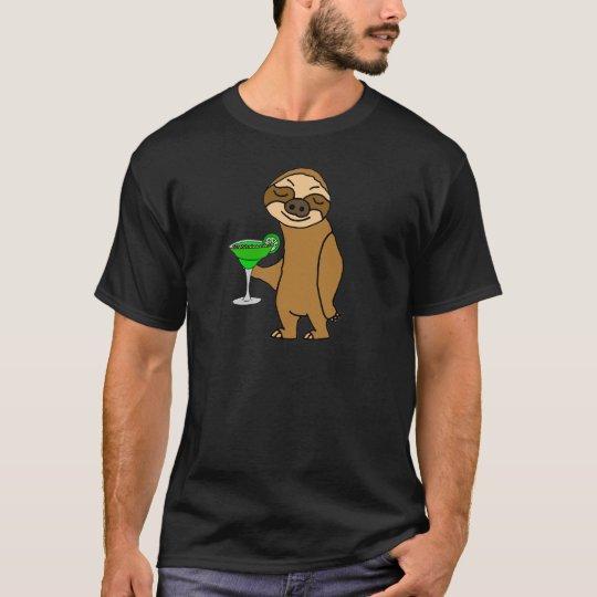 Cool Funky Sloth Drinking Margarita Cartoon T-Shirt