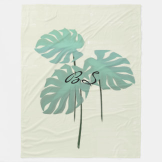 Cool Funky Tropical Leaf  Add Initials Blanket
