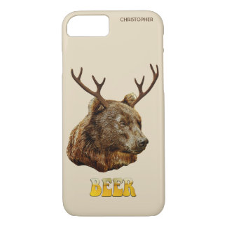 Cool Funny Beer Deer Bear With Glass Beer Letters iPhone 8/7 Case