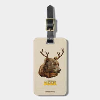 Cool Funny Beer Deer Bear With Glass Beer Letters Luggage Tag