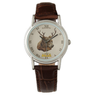 Cool Funny Beer Deer Bear With Glass Beer Letters Watch