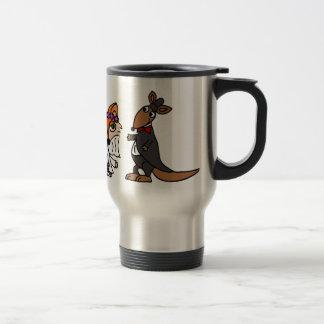 Cool Funny Fox Bride and Kangaroo Groom Wedding Travel Mug