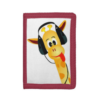 cool funny giraffe with headphones tri-fold wallet