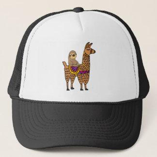Cool Funny Sloth Riding Llama Trucker Hat