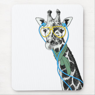 Cool funny trendy giraffe with glasses, earphones mouse pad