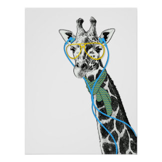 Cool funny trendy giraffe with glasses, earphones poster