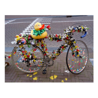 Cool Funny Yellow Duck Bicycle in Amsterdam Postcard