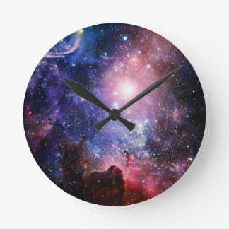 Cool galaxy nebula round clock