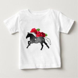 Cool Galazy Horse Black + White Nebula with Roses Baby T-Shirt