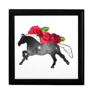 Cool Galazy Horse Black + White Nebula with Roses Large Square Gift Box