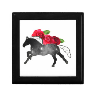 Cool Galazy Horse Black + White Nebula with Roses Small Square Gift Box