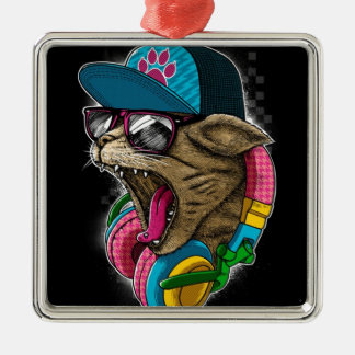 cool gangster rapping cat. metal ornament