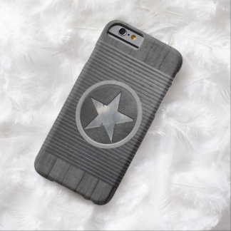 Cool Geeky Steel Star Metal & Wood iPhone 6 Case Barely There iPhone 6 Case