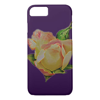 Cool giant peach rosebud on purple iPhone 8/7 case