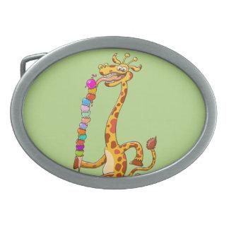 Cool Giraffe Eating Ice Cream Belt Buckle