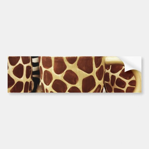 Cool Giraffe Pattern and Zebra Stripes Coffee Mugs Bumper Stickers