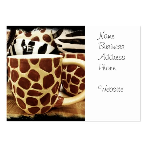 Cool Giraffe Pattern and Zebra Stripes Coffee Mugs Business Card