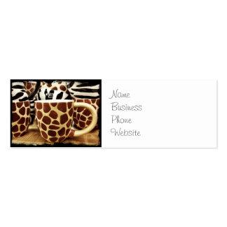 Cool Giraffe Pattern and Zebra Stripes Coffee Mugs Pack Of Skinny Business Cards