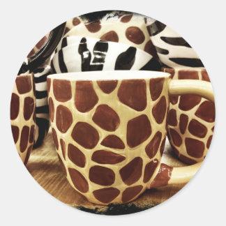 Cool Giraffe Pattern and Zebra Stripes Coffee Mugs Round Sticker