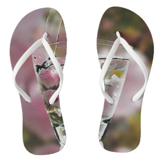 Cool Girly Pink Cherry Tree Blossoms In Glass Thongs