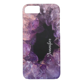 Cool glitter purple amethyst gemstone crystal name iPhone 8/7 case