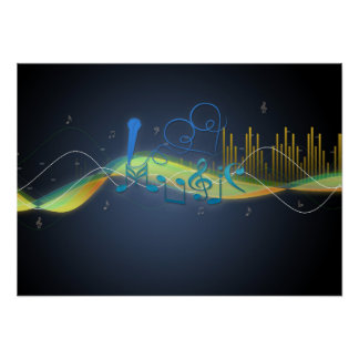 Cool glowing effects music notes heart swirls poster