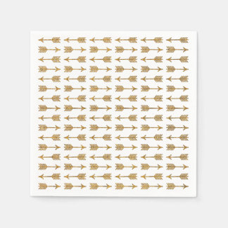 Cool Gold Brown Arrows Glitter Photo Print Paper Napkin