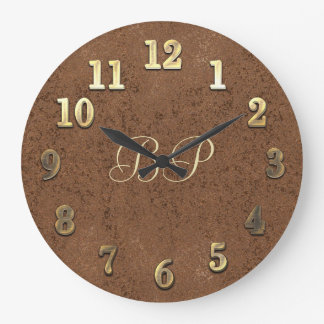Cool Gold & Copper Look Add Initials Clock