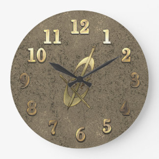 Cool Gold & Old Copper Look Cello Music Clock