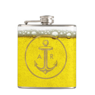 Cool Golden Anchor   Beer Bubbles Hip Flask