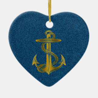 cool golden anchor effect on blue glitter ceramic ornament