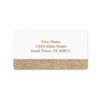 Cool Golden Glitter Chevron Pattern Address Label