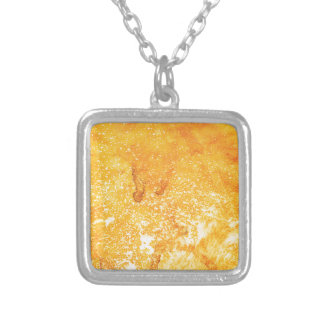 Cool golden yellow bleached paint effect square pendant necklace