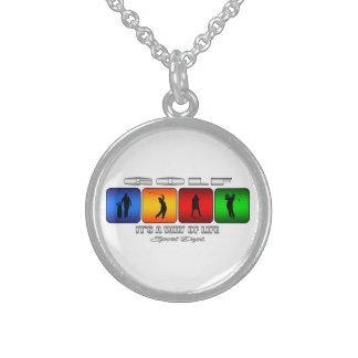Cool Golf It Is A Way Of Life Sterling Silver Necklace