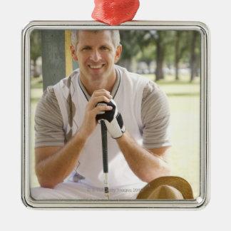Cool golfer metal ornament