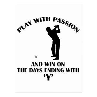 cool golfer player design postcard