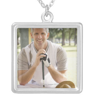 Cool golfer square pendant necklace
