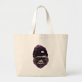Cool Gorilla with cap Large Tote Bag