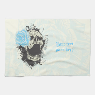 Cool gothic skull and blue rose custom tea towel