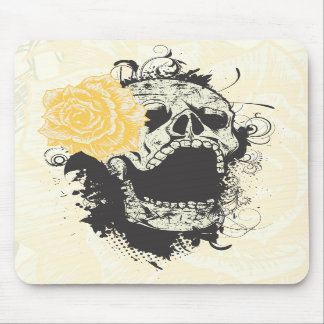 Cool gothic skull and yellow rose custom mousepad