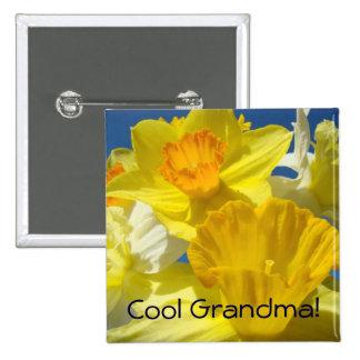 Cool Grandma buttons Yellow Daffodil Flowers