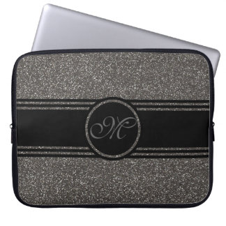 Cool Gray Glitter  Monogrammed Laptop Sleeve