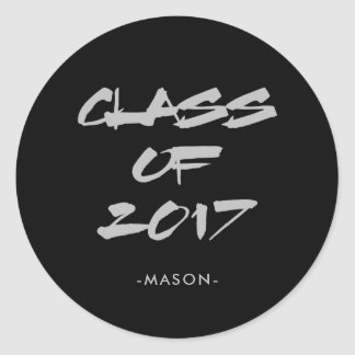 Cool Gray Text on Black | Class of 2017 Graduate Classic Round Sticker