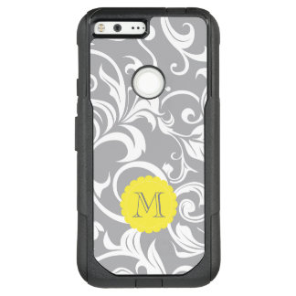 Cool Gray Yellow Floral Wallpaper Swirl Monogram OtterBox Commuter Google Pixel XL Case