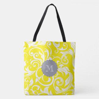 Cool Gray Yellow Floral Wallpaper Swirl Monogram Tote Bag